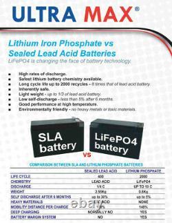 Ultramax LI36-12, 12v 36Ah Lithium Phosphate LiFePO4 Battery For Leisure