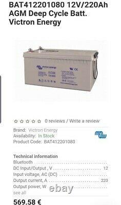 Victron Energy 12V 220Ah AGM Deep Cycle Leisure Battery off grid, solar, van